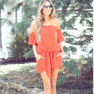 Off the Shoulder Tie Top with Matching Shorts Set